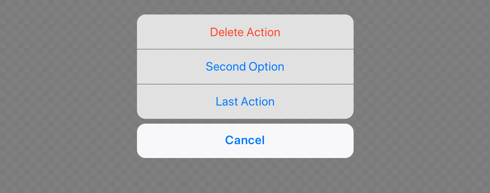iOS action sheet view